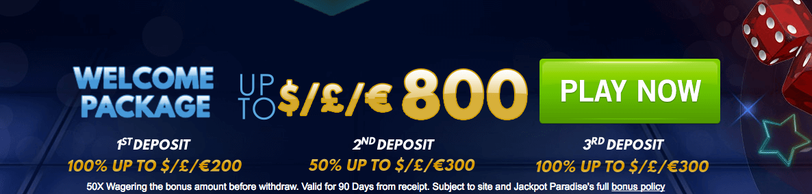 welcome bonus jackpot paradise casino