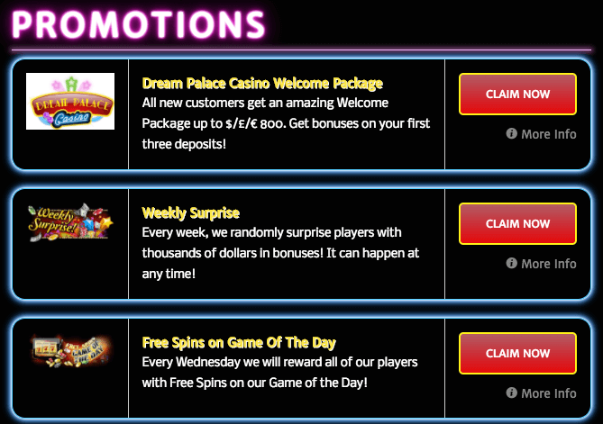 promotions dream palace casino