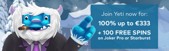welcome bonus yeti casino